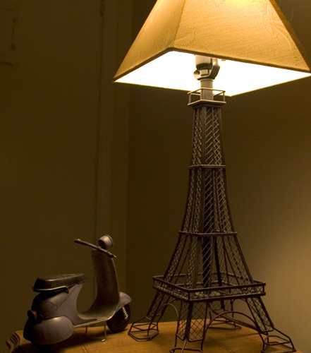 eiffel lamp and scooter