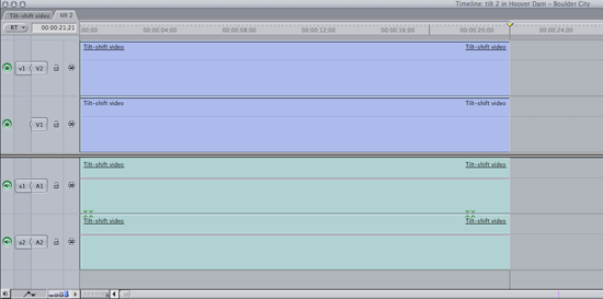 The Final Cut Timeline showing the video layered on itself.