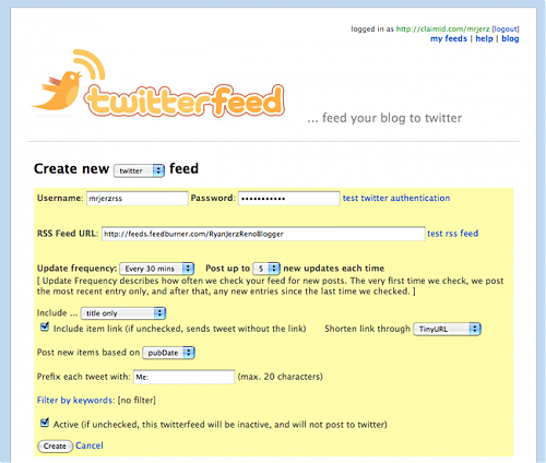 Setting up Twitterfeed to send RSS feeds to your Twitter account